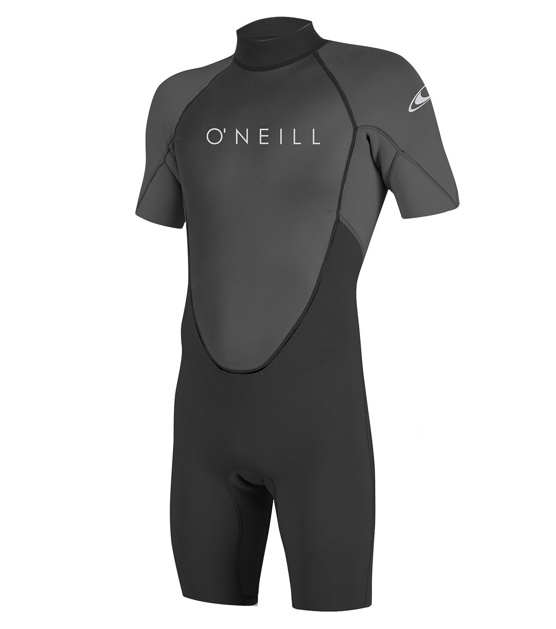 O'Neill Men's Reactor-2 2mm Back Zip Short Sleeve Spring Wetsuit, Black/Graphite, Small