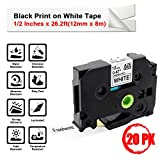 Compatible TZe231 P-Touch Brother Standard Laminated Label Tapes TZe-231 TZ-231 TZ231,for Brother PT-H100, PT-D210, PT-H110, PT-D400AD, PT-D600, Black on White, 1/2 Inches x 26.2ft(12mm x 8m), 20-Pack