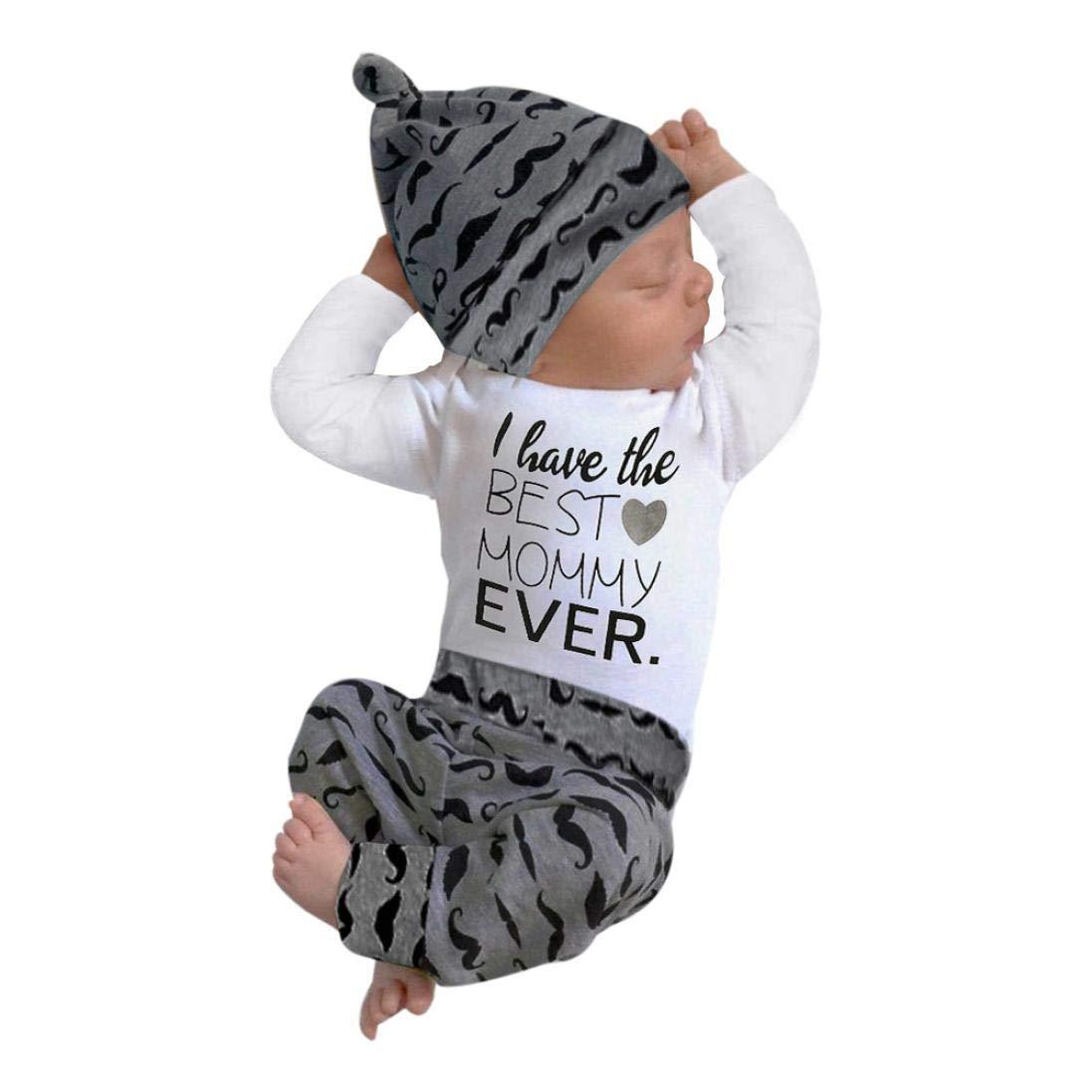 Newborn Infant Baby Boy Long Sleeve Cotton Romper Letter Print Tops+Stripe Pants\=Hat 3Pcs Clothes Set