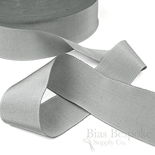 (3 Yards of Vera 2'' Cotton & Viscose Petersham Grosgrain Ribbon, Silver Gray, Made in Italy)