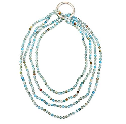 MGR MY GEMS ROCK! BjB 70 Inch 4MM Faceted Natural Blue Agate Beaded Light Weight Endless Infinity Long Necklace