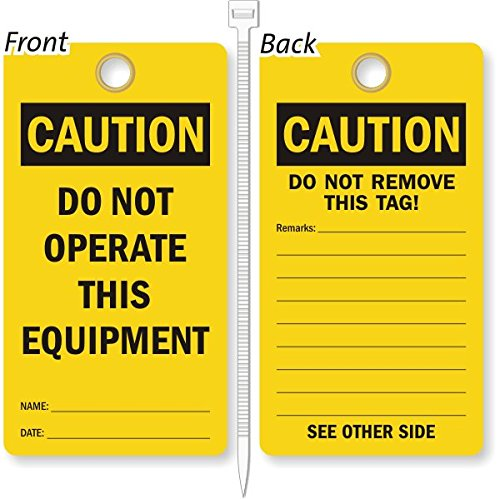 Do Not Operate This Equipment, Heavy Duty 15 mil thick Vinyl Tag, 25 Tags / Pack, 3.25'' x 6'' by LockoutTag