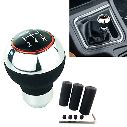 Alloy Shifter Levers - Arenbel New Universal 5 Speed Alloy Leather Manual and Automatic Car Gear Stick Shifter Knob Shift Lever Fit Most Cars