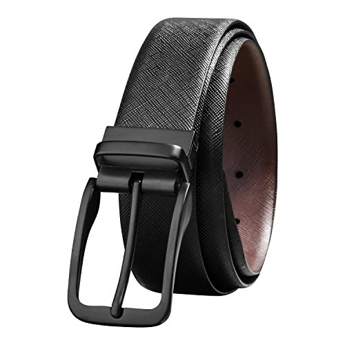 Savile Row Men's Fashion Reversible Leather Belt Black Buckle (Size 34)