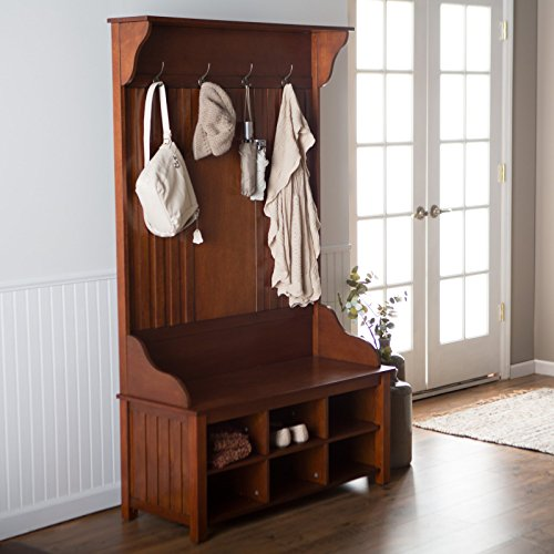 - Classic Hall Tree w/ Four Hooks and Bench Storage with Six Storage Cubes, Rich Cherry Finish, Birch Veneer Panels, Solid Wood Construction, Bead Board Detailing, Entryway Display + Expert Home Guide