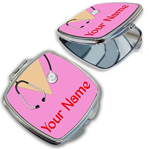 Custom Compact Mirrors (BleuReign(TM) Personalized Custom Name Nurse With Stethoscope Compact)