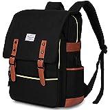 Modoker Vintage Laptop Backpack for Women Men,School College Backpack with USB Charging Port Fashion Backpack Fits 15 inch Notebook (Black)