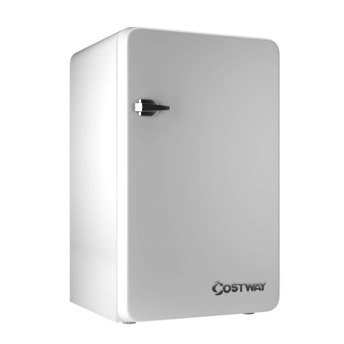 COSTWAY Compact Refrigerator, Single Door 3.2 cu. ft. Small Under Counter Mini Refrigerator Fridge Freezer Cooler Unit w/Handle for Dorm, Office, Apartment (White)