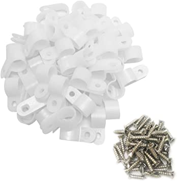 Alamic Cable Clamp R-Type Cable Clip Wire Clamp 1//2-Inch Nylon Screw Mounting Cord Fastener Clips with Screws for Wire Management 50 Pcs Screws White 50 Pcs Cable Clamps