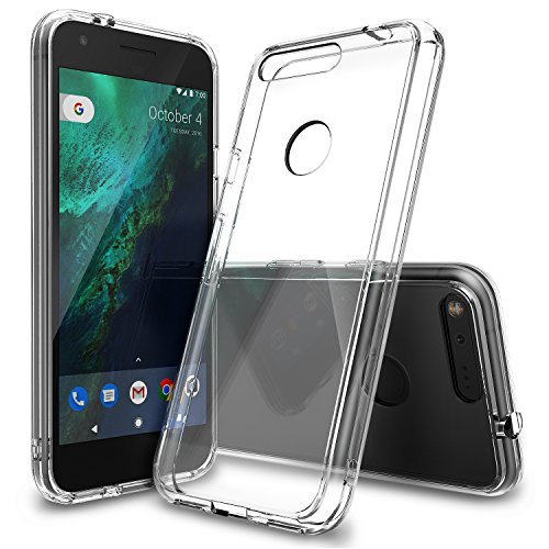 Ringke [Fusion] Compatible with Google Pixel XL Case Crystal Clear PC Back TPU Bumper [Drop Protection, Shock Absorption Technology] Raised Bezels Protective Cover for Google Pixel XL 2016 - Clear