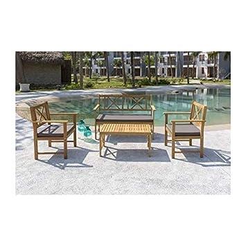 Générique Salon de Jardin 4 Places - 1 Table avec 2 fauteuils et 1 ...