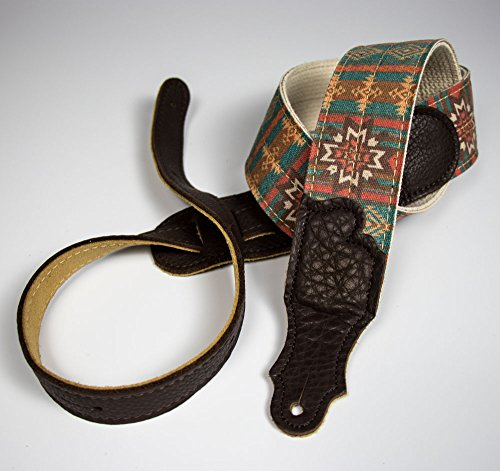 Old Aztec - Guitar Strap - Turquoise with Chocolate end Tab ()