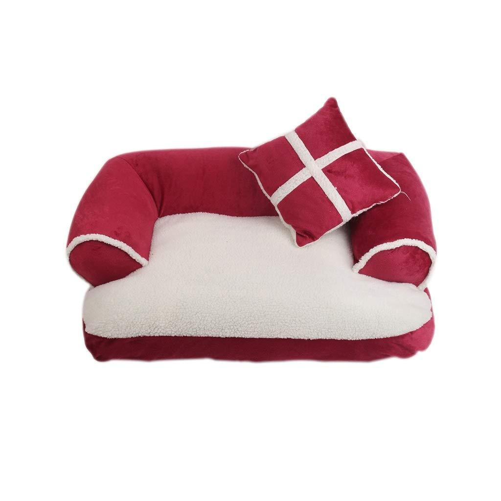 Red Large Red Large Wolaoma Dog Bed Warm Pet Basket Soft Washable Cave Small Sofa Tear Resistant Nest (color   RED, Size   L)