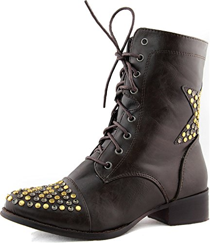 Womens Military Lace Up Combat Mid Calf Knee High Heel Boots Ankle Booties Fashion Shoes Brown Fg3FedL