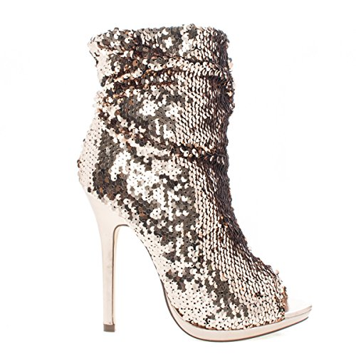 Liliana Maxim-12 Multi Color Sequins Peep Toe High Heel Above Ankle Bootie,Rosegold,10