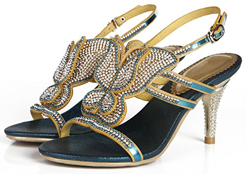 Wedding Heel Pattern Pump Blue Women Honeystore Party Strapy Sandals shoes Butterfly Crystal Bling Mid 0wwPvqEA