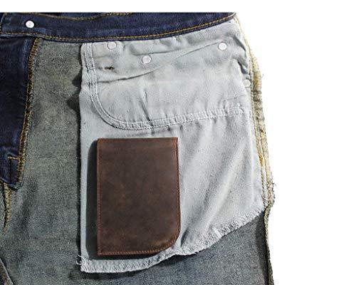 Slim Front Pocket Wallet by Saltrek | USA Designed, RFID Blocking Top Grain Leather Billfold, Chocolate Brown Leather Ergonomic Wallet