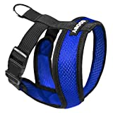 Gooby - Comfort X Head-in Harness, Choke Free Small Dog Harness with Micro Suede Trimming and Patented X Frame, Blue, Medium