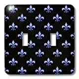 3dRose lsp_22347_2 Blue Fleur De Lis On A Black Background Christian Symbol Double Toggle Switch