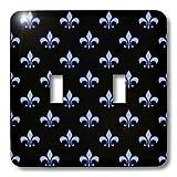 3dRose lsp_22347_2 Blue Fleur De Lis On A Black Background Christian Symbol Double Toggle Switch
