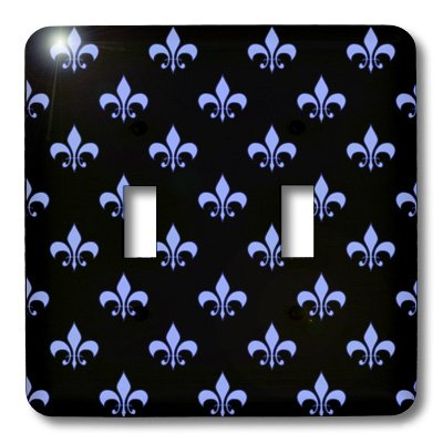 3dRose lsp_22347_2 Blue Fleur De Lis On A Black Background Christian Symbol Double Toggle Switch by 3dRose