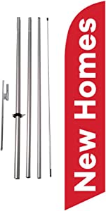 New Homes Real Estate Advertising Feather Banner Swooper Flag Sign with Flag Pole Kit and Ground Stake