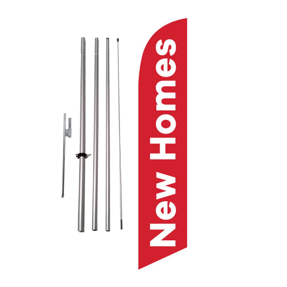 New Homes Advertising Feather Flag Banner w/ Pole kit and Ground Spike