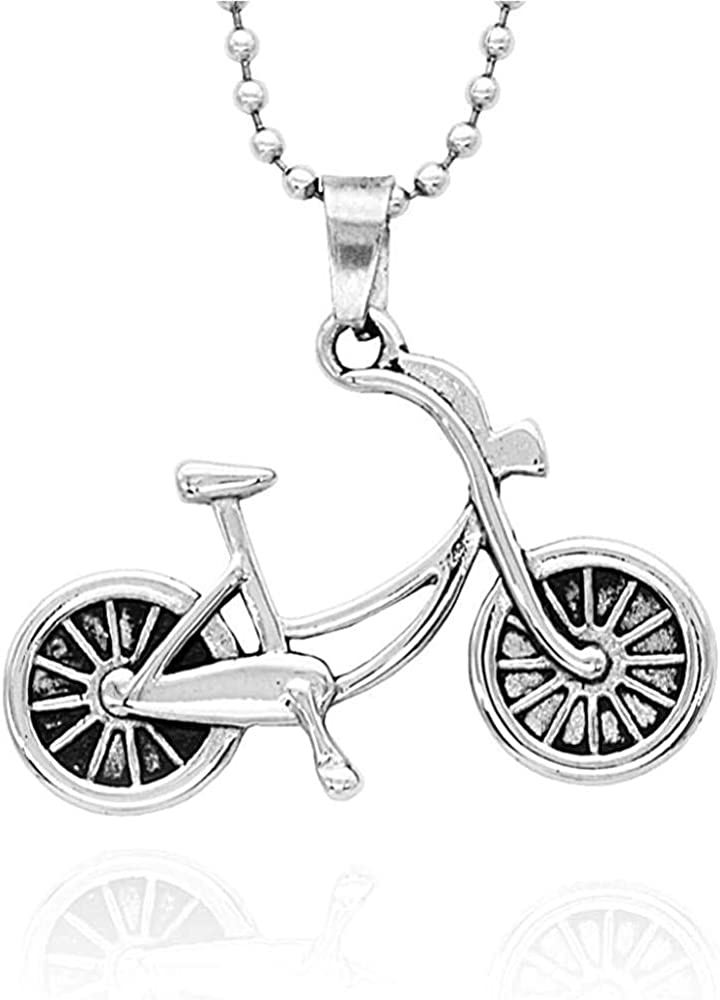 HAMANY Necklace,Mens Necklaces,Fashion Bicycle Pendant Bicycle Titanium Steel Necklace for Men and Women