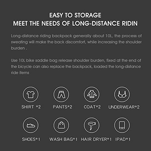 Roful RHINOWALK 10L 100% Waterproof Saddle Bike Bag Package for Bicycle Cycling (Gray) by Roful (Image #7)