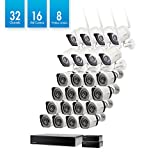 Zmodo 32 Channel Network Surveillance NVR System 16 sPoE +8 WiFi Weatherproof IP HD Security Camera Adjustable Night Vision,w/ sPoE Repeater for Flexible Extension