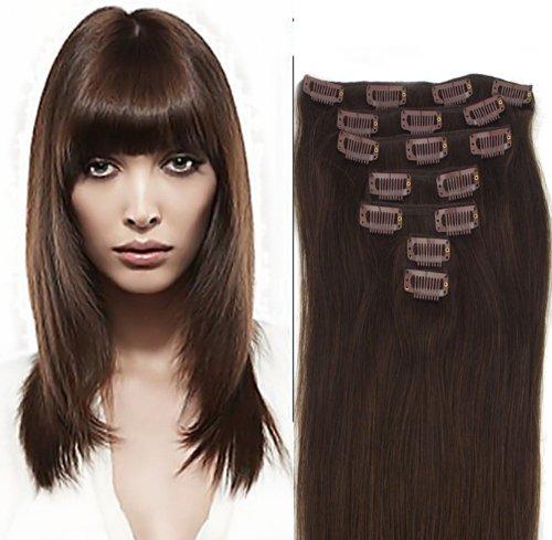 World Pride Модные прямой зажим в наращивание волос 20 дюймов 70 грамм № 2 Шатен