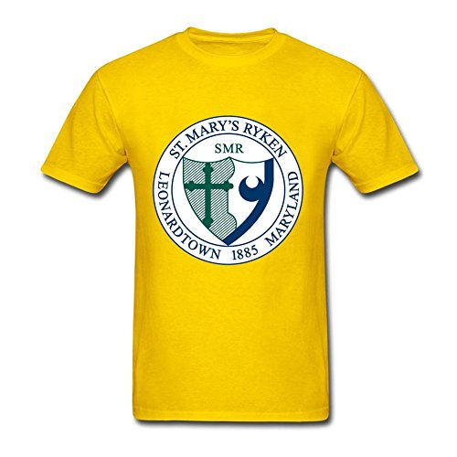 [Custom Made Men At st Mary's Seal 100% Cotton Short Sleeve T Shirt Yellow XS Costume] (Pinky Brain Costume)