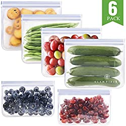 Glamfields 100% Food Grade Reusable Storage Bags  ---Quality creates a better life Package Include: 4x sandwich bags & 2 x snack bags, all of these are made of  food safe, FDA-grade PEVA material, and are PVC-free, Chloride free, lead-free & ...