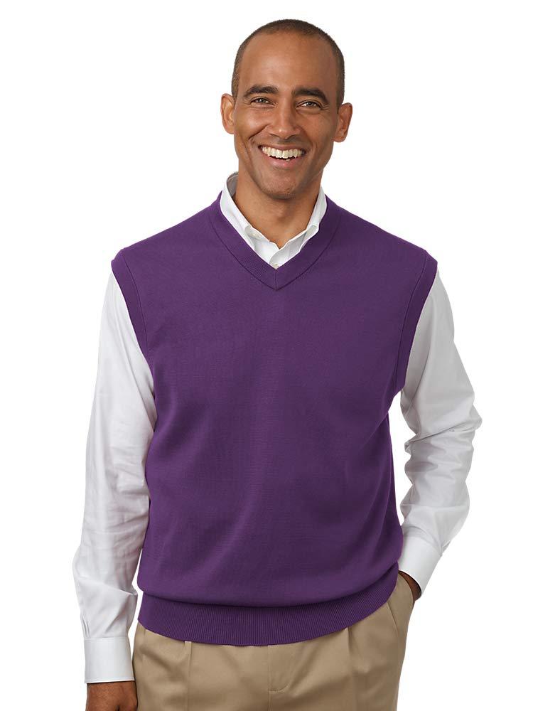 Paul Fredrick Men's Pima Cotton V-Neck Pullover Sweater Vest Purple Medium by Paul Fredrick