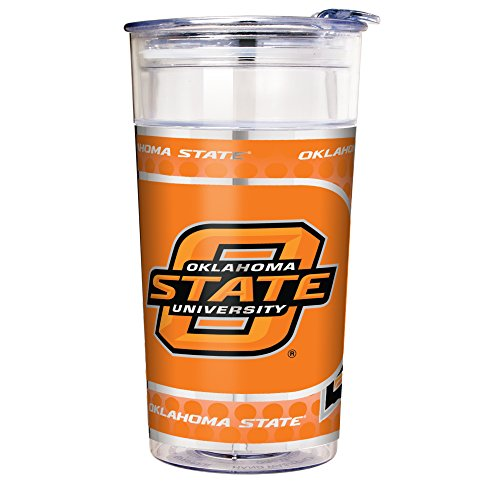 Great American Products NCAA Oklahoma State Cowboys Double Wall Acrylic Party Cup with Metallic Graphics, 22-Ounce, - State Acrylic Oklahoma