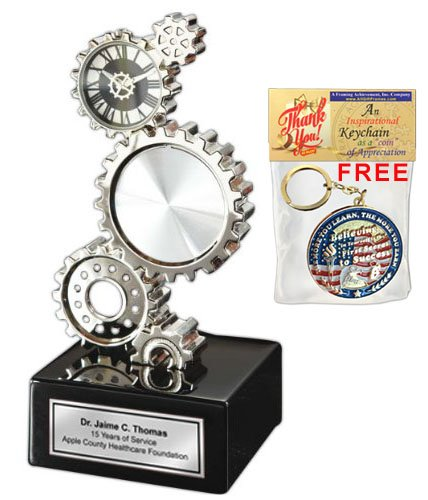 Gear Desk Clock with Silver Engraving Plate and Optional Photo Picture Frame. Great Engineering Gift, Gifts for Engineers, Graduation and Retirement Awards