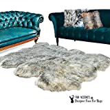 Cheap Fur Accents Designer Faux Fur Throw Rug Luxurious Gray Tip Wolf Creamy Off White with Gray Tips – Thick – Padded – Multi Pelt Sheepskin Shape – Exclusive Designer Rugs/Throws (5'x8′)