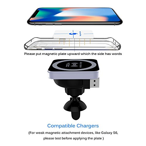 Magnetic Wireless Car Charger, DOCA Magnet QI Wireless Car Charger Mount Holder with Air Vent for iPhone X iPhone 8/8 Plus Galaxy Note 8 S8/S8 Plus S7 Edge and Any QI Enabled Phones by DOCA (Image #2)