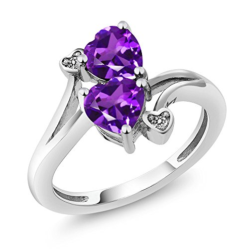 925 Sterling Silver Purple Amethyst and Diamond Accent Ring (1.33 Ctw Heart Shape Gemstone Birthstone Available in size 5, 6, 7, 8, 9) -