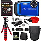 "Fujifilm FinePix XP90 Waterproof digital camera (Blue), 32GB Class 10, Memory Card Reader, 12"" Tripod, Camera Case, Polaroid Floating Foam Strap Red, Cleaning Kit & Accessory Bundle"