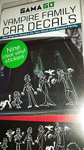 [Vampire Family Car Vehicle Decals: 9 Clear Vinyl Decals for the Whole Family [Vampires, Zombies, Werewolf, Scary Cat, Bat] (Zombie Family Decals)