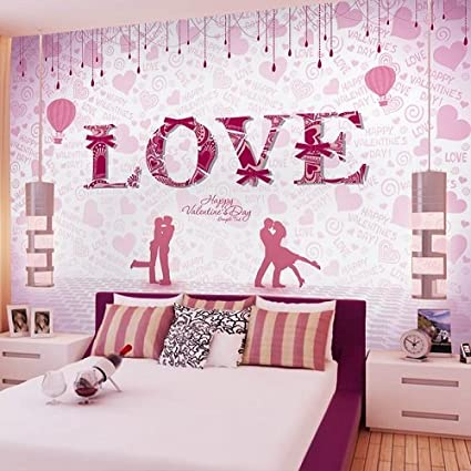 LHDLily Pink Romantic Couple 3D Wallpaper Mural Hotel ...