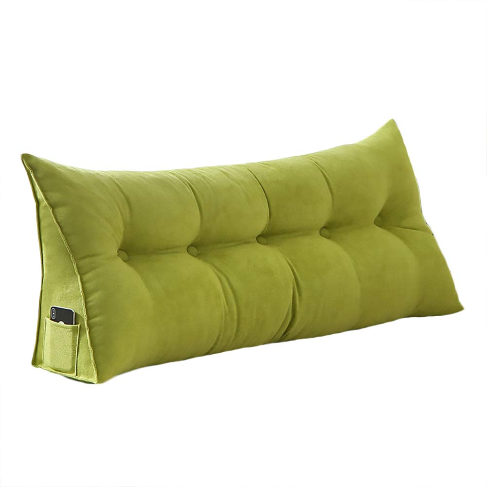 VERCART 100% Polyester Sofa Bed Large Soft Upholstered Headboard Filled Wedge Cushion Bed Backrest Positioning Support Reading Pillow Office Lumbar Pad with Removable Cover Green Twin