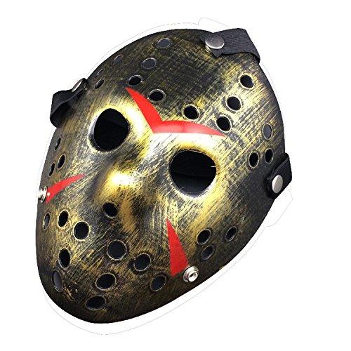 [Harulu Jason vs Freddy The 13th Prop Horror Hockey Costume Cosplay Halloween Mask (Bronze)] (Jason Scary Costume)