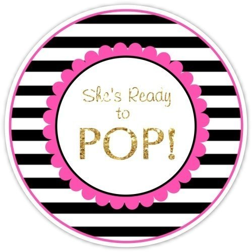 36 Baby Shower Labels Black Stripes With Pink And Gold Shes Ready To Pop Stickers