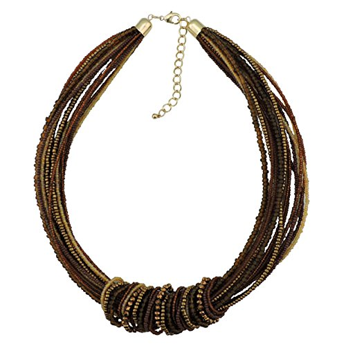 Brown Bead Necklace - Bocar Chunky Statement Colorful Seed Beads Women Choker Collar Necklace (NK-10314-brown)