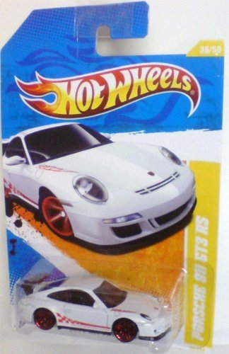 Hot Wheels 2011-036 New Models Porsche 911 GT3 RS WHITE w/Red Stripe 1:64 Scale - Porsche 911 Turbo Gt3