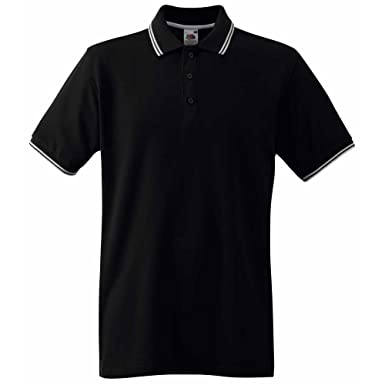 Fruit of the Loom Mens Tipped Short Sleeve Cotton Polo Shirt S, M ...