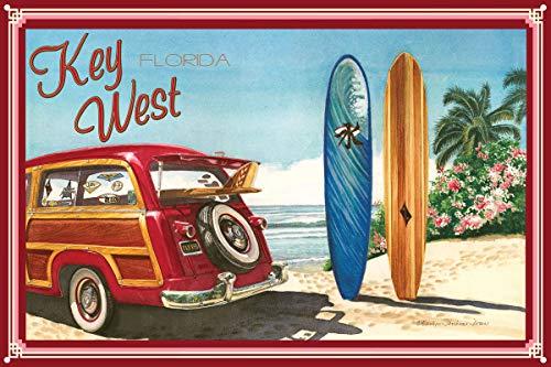 Key West Florida Woodie Car & Surfboards Metal Art Print by Evelyn Jenkins Drew (12