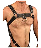 L'vow Men Sexy Black Leather Restrain Body Chest Harness Adjustable Straps Fancy Costumes (Style Two)